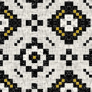 Black + white Kilim, mustard accents by Su_G