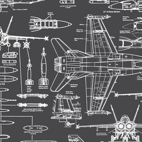 F-18 Blueprints on Charcoal // Large