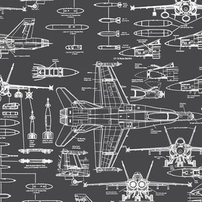 F-18 Blueprints on Charcoal // Small