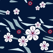Hawaiian Floral Small Scale Blue and Pink