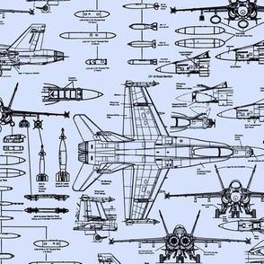 F-18 Blueprints on Light Blue // Small