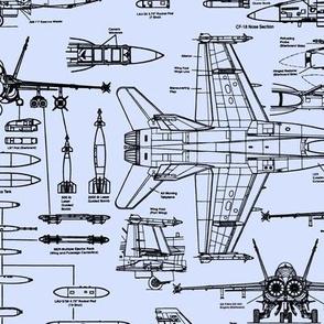 F-18 Blueprints on Light Blue // Large