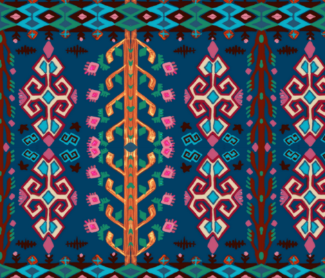 Flower Kilim Fantasy fabric by apevivria_studio on Spoonflower - custom fabric
