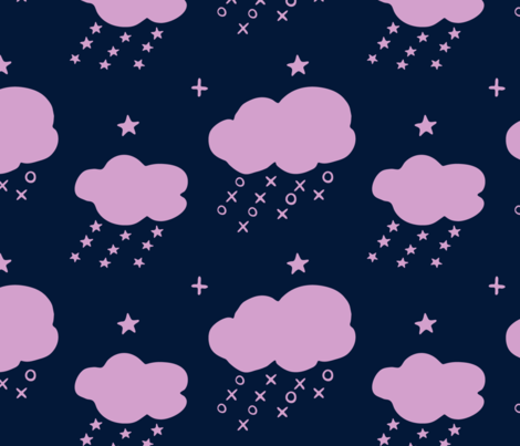 raining naughts and crosses_orchid&navy fabric by brave_snail_designs on Spoonflower - custom fabric