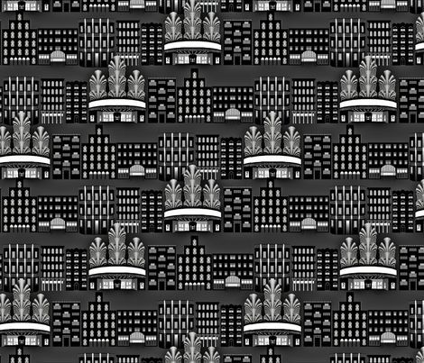 Deco Downtown, Night fabric by anneostroff on Spoonflower - custom fabric