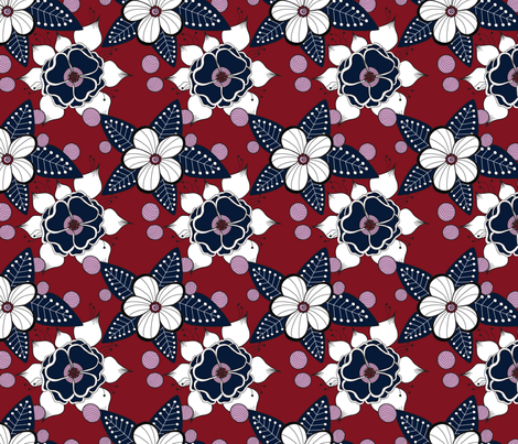 navy blossom fabric by groundnut_apiary on Spoonflower - custom fabric