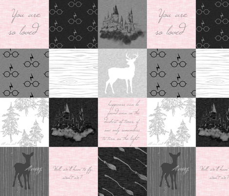 "4.5"" Always Quilt - Pink and greys - - wizard quotes fabric by sugarpinedesign on Spoonflower - custom fabric"