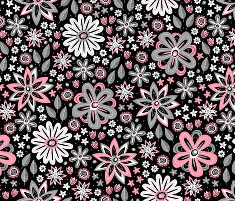 Bohemian Fields (Black and Coral) fabric by robyriker on Spoonflower - custom fabric
