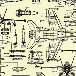 F-18 Blueprints on Yellow // Large