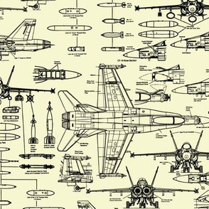 F-18 Blueprints on Yellow // Small