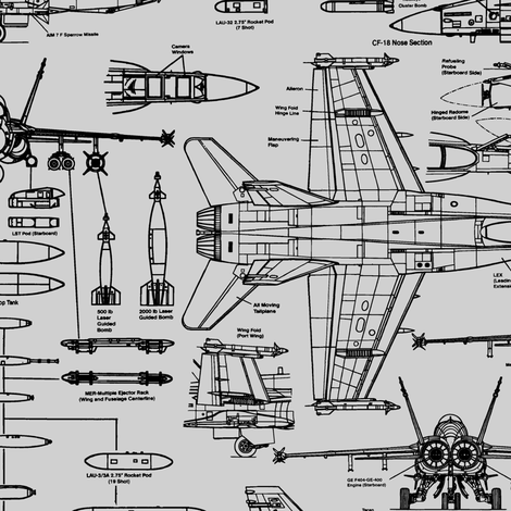 F-18 Blueprints on Grey // Large fabric by thinlinetextiles on Spoonflower - custom fabric