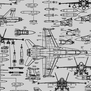 F-18 Blueprints on Grey // Small
