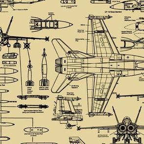 F-18 Blueprints on Tan // Large