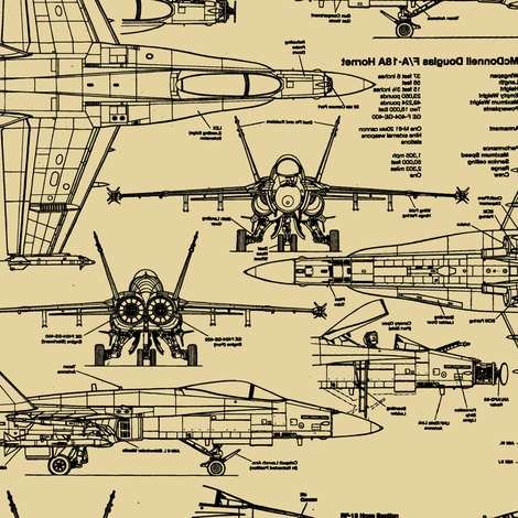 F-18 Blueprints on Tan // Large fabric by thinlinetextiles on Spoonflower - custom fabric
