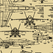 F-18 Blueprints on Tan // Large
