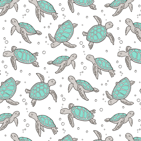 Sea Turtles Nautical Ocean Mint Green on White Smaller 2 inch fabric by caja_design on Spoonflower - custom fabric