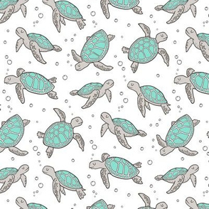 Sea Turtles Nautical Ocean Mint Green on White Smaller 2 inch