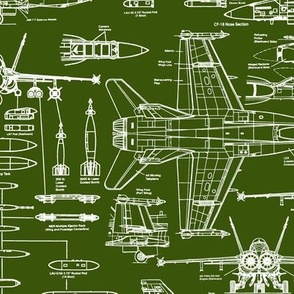 F-18 Blueprints on Army Green // Large