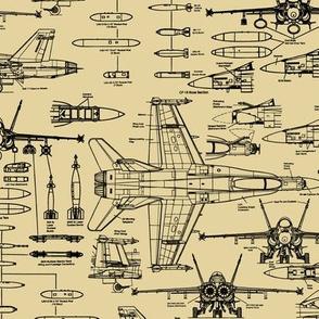 F-18 Blueprints on Tan // Small