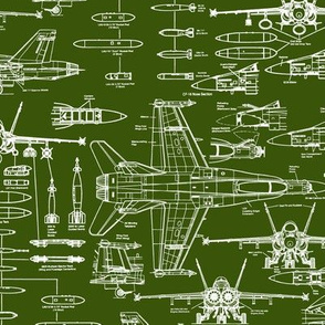 F-18 Blueprints on Army Green // Small