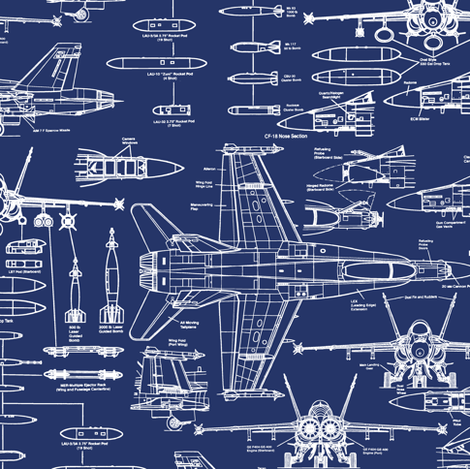 F-18 Blueprints // Small fabric by thinlinetextiles on Spoonflower - custom fabric