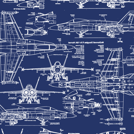 F-18 Blueprints // Small fabric - thinlinetextiles - Spoonflower
