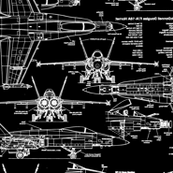 F-18 Blueprints on Black // Large