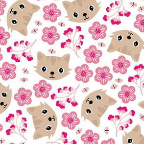 Spring blossom kitty sweet cats illustration pets love flowers pink