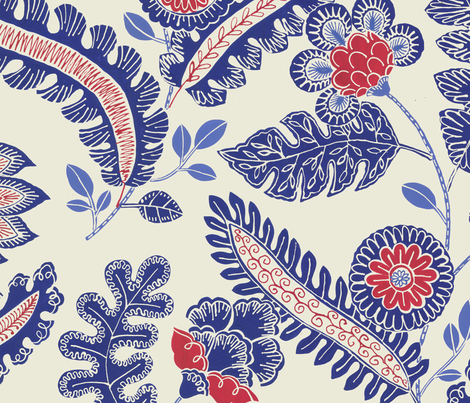 Indian chintz (blue and red) fabric by kate_rowley on Spoonflower - custom fabric