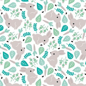 Bunny love botanical garden spring easter design blue green