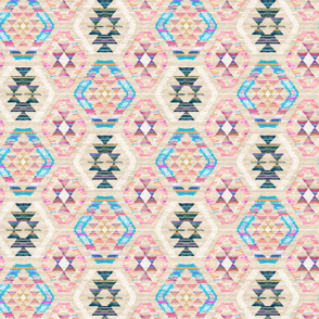 Small Scale Woven Textured Pastel Kilim - warm cream