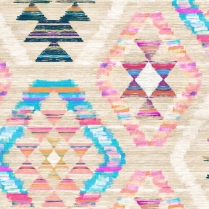 Large Scale Woven Textured Pastel Kilim - warm cream