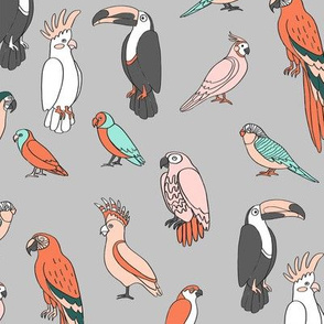 parrot // tropical rainforest bird fabric parrots grey