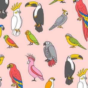 parrot // tropical rainforest bird fabric parrots blush