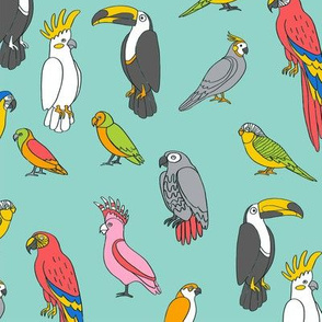 parrot // tropical rainforest bird fabric parrots turquoise