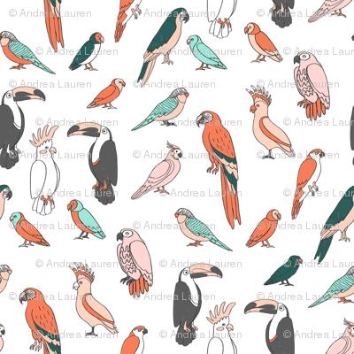 parrot // tropical rainforest bird fabric parrots white multi