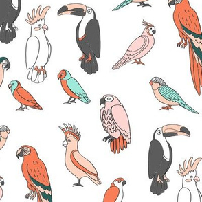 parrot // tropical rainforest bird fabric parrots white multi