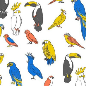 parrot // tropical rainforest bird fabric parrots white blue