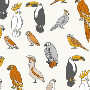parrot // tropical rainforest bird fabric parrots pastel orange