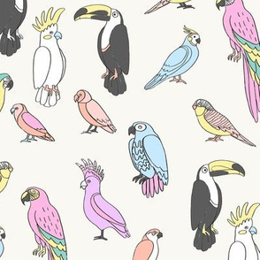 parrot // tropical rainforest bird fabric parrots pastel light