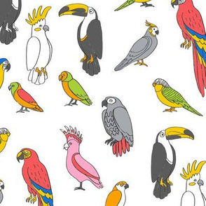 parrot // tropical rainforest bird fabric parrots bright