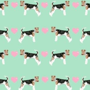 wire fox love hearts dog breed fabric mint