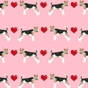 wire fox love hearts dog breed fabric pink