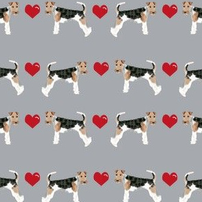 wire fox love hearts dog breed fabric grey
