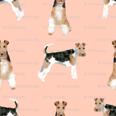 wire fox terrier simple dog breed fabric blush