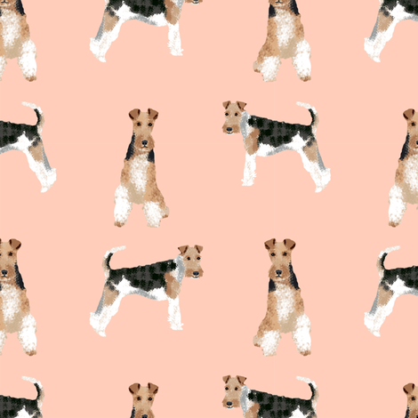 wire fox terrier simple dog breed fabric blush fabric by petfriendly on Spoonflower - custom fabric