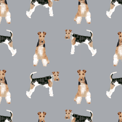 wire fox terrier simple dog breed fabric grey fabric by petfriendly on Spoonflower - custom fabric
