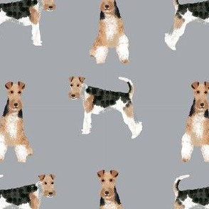 wire fox terrier simple dog breed fabric grey