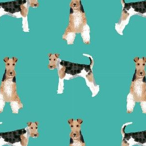 wire fox terrier simple dog breed fabric turquoise