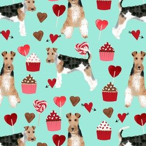 wire fox terrier valentines day cupcakes love hearts dog breed fabric mint